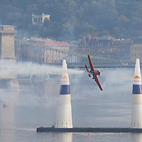 0708193859a Red Bull Air Race international air show qualifying runs over the river Danube, Budapest preceding the anniversary of Hungarian state foundation. Hungary. Sunday, 19. August 2007. ATTILA VOLGYI