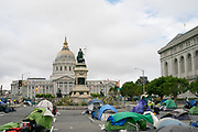 Tents are spaced within a Safe Sleeping Site near City Hall in San Francisco, CA on June 12, 2020. With many shelters closed during the pandemic, the City erected Safe Sleeping Sites across the city.