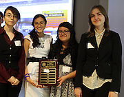 The Eradicate Hunger group from North Houston Early College High School shows off their award at the Senior Summit on May 14, 2013.