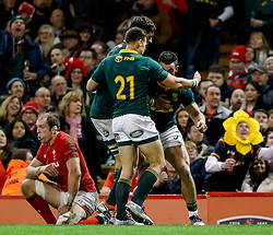 Jesse Kriel of South Africa celebrates scoring his sides first try<br /> <br /> Photographer Simon King/Replay Images<br /> <br /> Under Armour Series - Wales v South Africa - Saturday 24th November 2018 - Principality Stadium - Cardiff<br /> <br /> World Copyright © Replay Images . All rights reserved. info@replayimages.co.uk - http://replayimages.co.uk