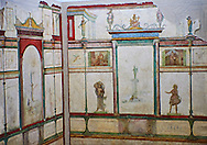 Roman fresco wall decorations of Bedroom E of the Villa Farnesia, Rome. Museo Nazionale Romano ( National Roman Museum), Rome, Italy.<br /> <br /> Bedroom E, a private room with a bed (kline), was divided into antechamber and alcove. The room is probably a later reworking, as the doorway is off-center. The decoration of the walls, in contrast to cubicula B and D, is done in muted colors. Slender columns with a surreal superstructure frame aedicula with sacred landscapes. Three of these show travellers making a sacrifice to a herm of Athena. The images refer in various ways to the world of women. The little pictures along the walls of the antechamber show girls engaged in different activities. On the rear wall of the alcove, which has a picture with an amorous theme, the goddess Artemis is shown dressed as both huntress and moon goddess. Two Muses are on the opposite wall. The stucco decorations of the vaulted ceiling show idyllic landscapes with sacred elements and mythological scenes. In one, Phaethon asks his father Apollo to let him drive the chariot of the Sun. Other scenes show statues of Zeus, a statue probably representing Augustus as the new Mercury, disks of the sun, winged victories and grotesque figures, all done in very low relief with the elegance and delicacy of jewellery. The mosaic pavement of this room, known from a contemporary watercolor, had a pattern of squares and stars. .<br /> <br /> If you prefer to buy from our ALAMY PHOTO LIBRARY  Collection visit : https://www.alamy.com/portfolio/paul-williams-funkystock/national-roman-museum-rome-fresco.html<br /> Visit our ROMAN FRESCO PHOTO COLLECTIONS for more photos to download  as wall art prints https://funkystock.photoshelter.com/gallery-collection/Roman-Fresco-Wall-Art-Paintings-Pictures-Images-Photos/C0000nK42a3dDNbU