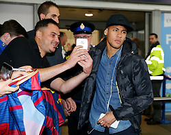 Neymar of FC Barcelona arrives at Manchester Airport  - Mandatory by-line: Matt McNulty/JMP - 31/10/2016 - FOOTBALL - Manchester Airport - Manchester, England - Manchester City v Barcelona - UEFA Champions League - Group C