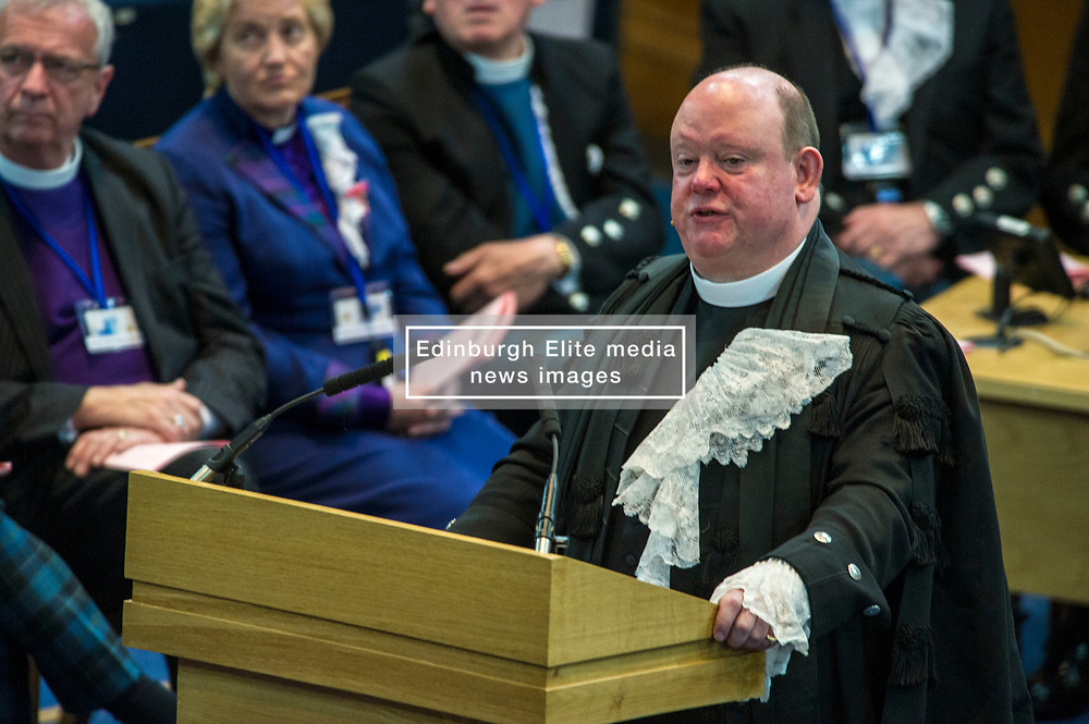 Pictured: The Very Reverend Derek Browning MA BD DMin moderator 2017<br /> <br /> The 2018 General Assembly of the Church of Scotland begins.This year's annual gathering runs until Friday May 25<br /> <br /> Ger Harley | EEm 19 May 2018