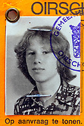 detail of identity document with portrait photo of a young adult boy 1970s