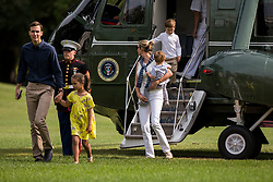 Special Advisor to The President Jared Kushner and Special Advisor to The President Ivanka Trump exit Marine One the South Lawn of the White House with their children, Arabella, 6, Joseph, 3, and Theodore, 1. The Kishner's accompanied the first family to Camp David for the weekend. Credit: Alex Edelman / Pool via CNP