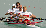 28/08/2003 Thursday.2003 World Rowing Championships, Idroscala. Milan, Italy.Semi finals, men's four,  Canada's  [left to right] CAN M4-Cameron Baerg, Thomas Herschmiller, Jake Wetzel and  Barney Williams, at the start of their semi final . .. Milan. ITALY 2003 World Rowing Championships. Idro Scala Rowing Course. [Mandatory Credit: Peter Spurrier: Intersport Images.]