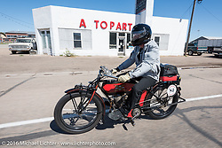 William Story riding his 1913 Excelsior through the eastern plains of Colorado during the Motorcycle Cannonball Race of the Century. Stage-9 Dodge City, KS to Pueblo, CO. USA. Monday September 19, 2016. Photography ©2016 Michael Lichter.
