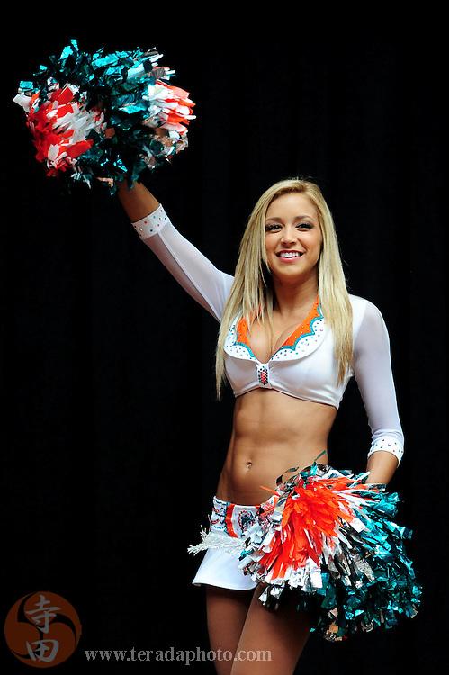 January 28, 2011; Honolulu, HI, USA; Miami Dolphins cheerleader Fabiola Romero performs during a 2011 Pro Bowl cheerleader appearance at the Ala Moana Center. Mandatory Credit: Kyle Terada-Terada Photo