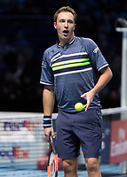 Tennis - 2017 Nitto ATP Finals at The O2 - Day Eight<br /> <br /> Mens Doubles: Final : Henri Kontinen (Finland) & John Peers (Australia) Vs Lukasz Kubot (Poland) & Marcelo Melo (Brazil) <br /> <br /> Henri Kontinen (Finland) cannot believe they have just won at the O2 Arena<br /> <br /> COLORSPORT/DANIEL BEARHAM