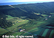 Aerial, Mifflin Co., PA, Farms, Mountains, Big Valley near town of Belleville Aerial Photograph Pennsylvania