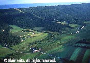 Aerial, Mifflin Co., PA, Farms, Mountains, Big Valley near town of Belleville Aerial Photograph Pennsylvania
