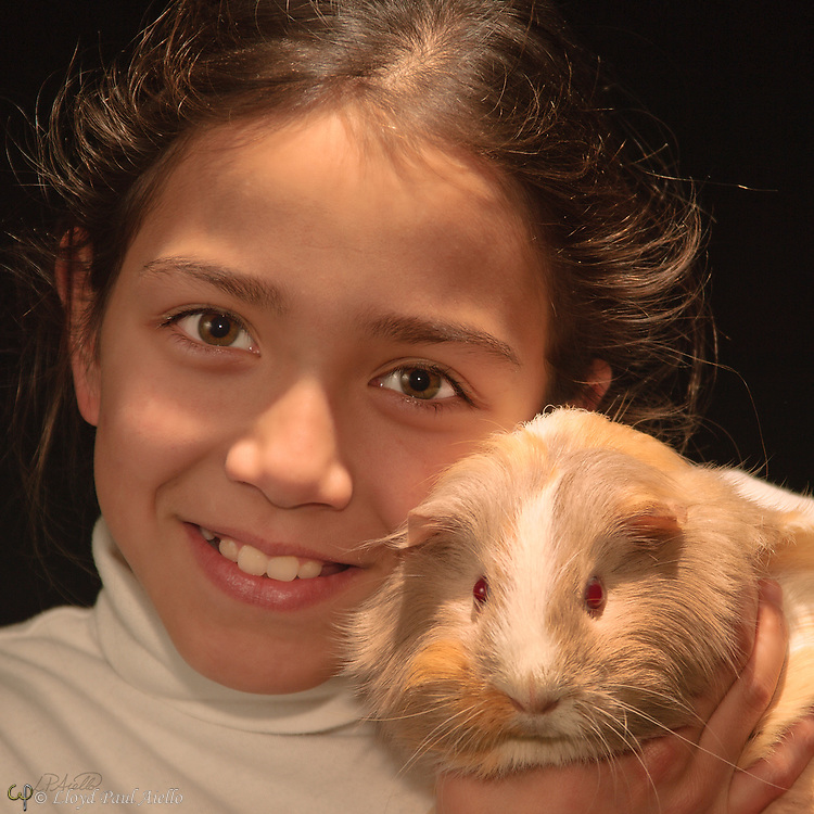 """Ashlyn holds """"Kisses"""" a female Peruvian guinea pig (Cavia porcellus) she raised from a young pup."""