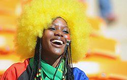 Jun 11, 2010 - Johannesburg, South Africa - A South Africa fan at the Soccer City stadium in Johannesburg in Johannesburg, South Africa. The FIFA 2010 World Cup kicks off today with the official opening ceremony, followed by the first match between South Africa and Mexico, which South Africa won. (Credit Image: © Luca Ghidoni/ZUMApress.com)