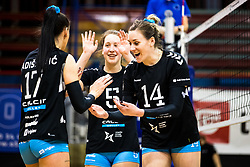 Andjelka Radiskovic of Calcit Volley, Eva Pogacar of Calcit Volley and Lucille June Charuk of Calcit Volley celebrate during 3rd Leg Volleyball match between Calcit Volley and Nova KBM Maribor in Final of 1. DOL League 2020/21, on April 17, 2021 in Sportna dvorana, Kamnik, Slovenia. Photo by Matic Klansek Velej / Sportida