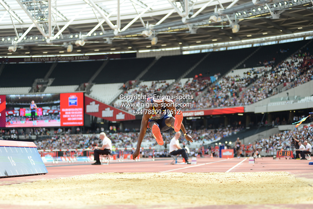 Pedro Pichardo competes in the men's triple jump during the IAAF Diamond League at the Queen Elizabeth Olympic Park London, England on 20 July 2019.