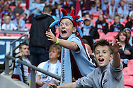 Young Aston Villa fans during the The FA Cup match between Arsenal and Aston Villa at Wembley Stadium, London, England on 30 May 2015. Photo by Phil Duncan.