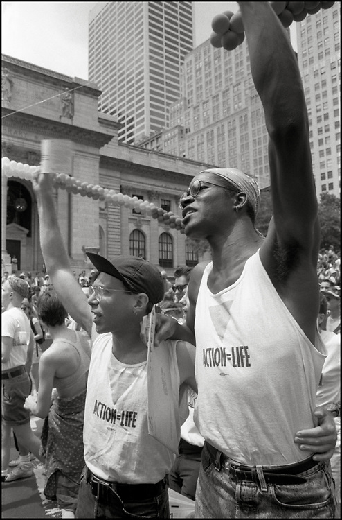 ACT UP marches in the Gay Pride Parade in New York City in June, 1990.