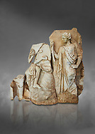 Roman Sebasteion relief  sculpture of Apollo and a Muse Aphrodisias Museum, Aphrodisias, Turkey.  Against a grey background.<br /> <br /> On the left stood Apollo, one foot raised on a rock, playing his lyre which rests on top of the omphalos (the earth's navel stone, tied down at Delphi(. On the right stands a muse holding one arm of Apollos lyre. .<br /> <br /> If you prefer to buy from our ALAMY STOCK LIBRARY page at https://www.alamy.com/portfolio/paul-williams-funkystock/greco-roman-sculptures.html . Type -    Aphrodisias     - into LOWER SEARCH WITHIN GALLERY box - Refine search by adding a subject, place, background colour, museum etc.<br /> <br /> Visit our ROMAN WORLD PHOTO COLLECTIONS for more photos to download or buy as wall art prints https://funkystock.photoshelter.com/gallery-collection/The-Romans-Art-Artefacts-Antiquities-Historic-Sites-Pictures-Images/C0000r2uLJJo9_s0