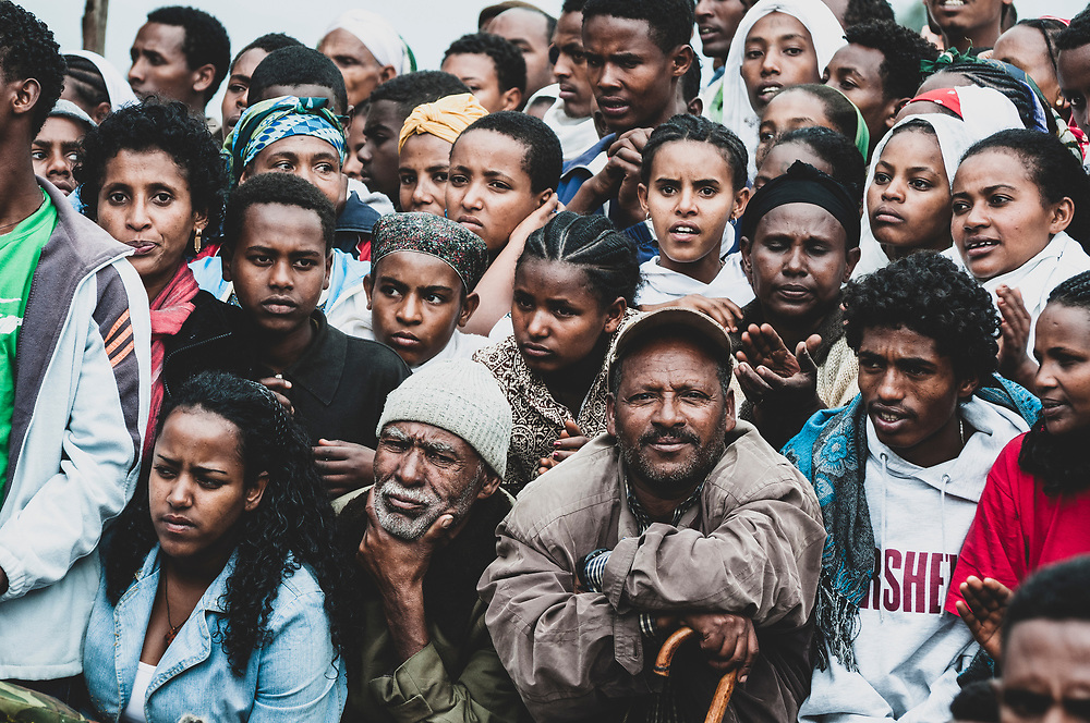 Lalibela, Ethiopia - August 23, 2010: A large gathering of people at a religious/cultural festival in the historic town of Lalibela, best known for its centuries-old stone churches.