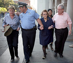 05 October 2011. New Orleans, Louisiana, USA.  <br /> Lindy Boggs,(mid rt in blue) former US Ambassador to the Vatican and former Congresswoman attends the funeral services of Archbishop Philip Hannan, who lies in state at St Louis Cathedral in Jackson Square. Archbishop Philip Matthew Hannan (May 20th, 1913 - Sept 29th, 2011) will be interred at the cathedral. Archbishop Hannan was a decorated WWII army chaplain and served as a  member of the Vatican II Council Fathers under Pope Pius XII. The industrious and well respected Archbishop Hannan was a personal confidant of President John F Kennedy, delivering the eulogy at the assassinated President's funeral.<br /> Photos; Charlie Varley