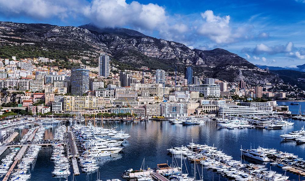 Panoramic overview of Port Hercule in Monaco.