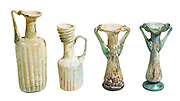 4 glass ribbed juglets and bottles 3-5th century CE 11-12 cm high