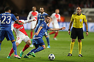 MIRALEM PJANIC of Juventus and duels for the ball with BERNARDO SILVA of Monaco during the UEFA Champions League semi final football match, 1st leg, between AS Monaco and Juventus FC on May 3rd, 2017 at Louis II Stadium in Monaco - Photo Manuel Blondeau / AOP Press /