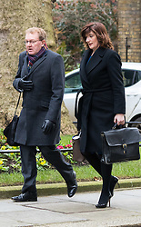 Downing Street, London, March 8th 2016. Scotland Secretary David Mundell and Education Secretary Nicky Morgan arrive for the weekly UK cabinet meeting at Downing Street. ©Paul Davey<br /> FOR LICENCING CONTACT: Paul Davey +44 (0) 7966 016 296 paul@pauldaveycreative.co.uk