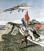 Louis Bleriot (1872-1936), French aviator, flying over the cliffs at Dover after crossing the English Channel from Les Boraques near Calais, France, in his monoplane Bleriot XI on 25 July 1909. Illustration  from French 'Le Petit Journal', Paris, 8 August 1901.