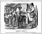 Housing conditions of poor labouring family, partly caused by high rents. Landlords were making up to 50% on their investements in already condemned properties.  Well-fed and warmly clothed rent collector demands payment from tenants of miserable dwelling. Father sits in despair and mother leans against chimney with fireless grate while 4 skinny children in rags look on. John Tenniel cartoon from 'Punch' London November 1883