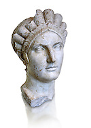 Roman marble portrait bust of Matidia circa119 AD from Via Giolitti, Rome. Matidia was Sabina's mother and Hadrian's wife. The high level of idealisation of the portrait suggests that it was made after her death. Capitoline Museums, Rome ....<br /> <br /> If you prefer to buy from our ALAMY STOCK LIBRARY page at https://www.alamy.com/portfolio/paul-williams-funkystock/greco-roman-sculptures.html . Type -    Capitoline    - into LOWER SEARCH WITHIN GALLERY box - Refine search by adding a subject, place, background colour, etc.<br /> <br /> Visit our ROMAN WORLD PHOTO COLLECTIONS for more photos to download or buy as wall art prints https://funkystock.photoshelter.com/gallery-collection/The-Romans-Art-Artefacts-Antiquities-Historic-Sites-Pictures-Images/C0000r2uLJJo9_s0