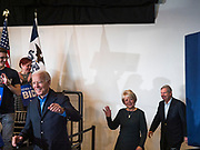 23 NOVEMBER 2019 - DES MOINES, IOWA: Joe Biden, left, Christie Vilsack and her husband, Tom Vilsack, walk into a Biden campaign event. Vice President Biden announced that Tom Vilsack, the former Democratic governor of Iowa, endorsed him. Biden and Vilsack appeared with their wives at an event in Des Moines. Iowa hosts the first presidential selection event of the 2020 election cycle. The Iowa caucuses are on February 3, 2020.                   PHOTO BY JACK KURTZ