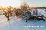 63895-17513 Aerial view of Pleasant Grove Church at sunrise in winter Marion Co. IL