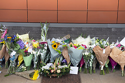 ©Licensed to London News Pictures 26/09/2020  <br /> Croydon, UK. A flower memorial for Sgt Matt Ratana at Croydon Custody Centre. A murder investigation has been launched by police after the death of custody police sergeant Matt Ratana at the Croydon Custody Centre in South London yesterday.Photo credit:Grant Falvey/LNP