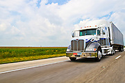 Semi truck on an interstate highway. Photographed in Indiana, USA