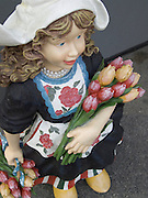 close up of a traditional Dutch flower girl display doll
