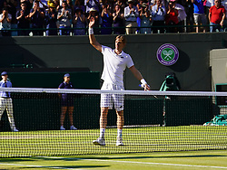July 11, 2018 - London, England, U.S. - LONDON, ENG - JULY 11: Kevin Anderson (RSA) waves to fans after winning his quarter final match on July 11, 2018, defeating number 1 seed Roger Federer (SUI) 13 -11 in the fifth set at the Wimbledon Championships played at the AELTC, London, England. (Photo by Cynthia Lum/Icon Sportswire) (Credit Image: © Cynthia Lum/Icon SMI via ZUMA Press)
