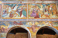 Early Renaissance frescoes by Vitale da Bologna (1309 — 1369) of Christ Pantocrator (in majesty), pinted in the Byzantine style of Christ appearing in a madorla or eye. Church of Santa Maria, Benedictine Abbey of Pomposa, Emilia-Romagna, Italy.