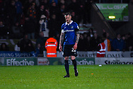 Peter Clarke of Oldham Athletic (26) walks off the pitch after been shown a red card during the The FA Cup fourth round match between Doncaster Rovers and Oldham Athletic at the Keepmoat Stadium, Doncaster, England on 26 January 2019.