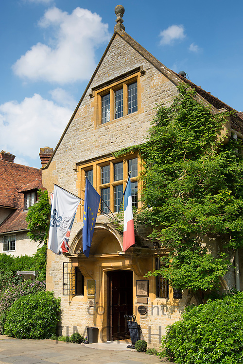 Le Manoir Aux Quat' Saisons luxury hotel founded by Raymond Blanc - the front entrance at Great Milton in Oxfordshire, UK