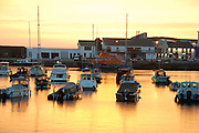 UK, Northern Ireland, County Antrim, Portrush The harbour at sunset
