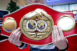 Champion's belt of Slovenian Boxer Dejan Zavec alias Jan Zaveck alias Mr. Simpatikus at open for public and press practice session, on April 6, 2010, in BTC City park, Ljubljana, Slovenia.  (Photo by Vid Ponikvar / Sportida)