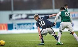 Hibernian's James Keating and Falkirk's Craig Sibbald. <br /> Falkirk 1 v 1 Hibernian, Scottish Championship game played 17/1/2015 at The Falkirk Stadium.