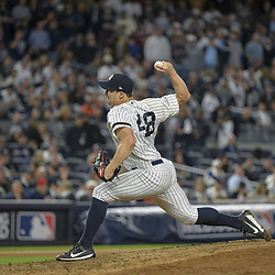 October 18, 2017 - Bronx, NY, USA - New York Yankees relief pitcher Tommy Kahnle works against the Houston Astros during Game 5 of the American League Championship Series at Yankee Stadium in New York on Wednesday, Oct. 18, 2017. The Yankees won, 5-0, for a 3-2 series lead. (Credit Image: © Howard Simmons/TNS via ZUMA Wire)