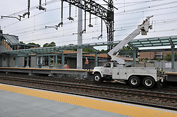 Electical Work Bucket Truck on Tracks. Construction Progress Railroad Station Fairfield Metro Center - Site visit 23 of once per month periodic photography