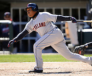 CHICAGO - APRIL 09:  Jose Ramirez #11 of the Cleveland Indians bats against the Chicago White Sox on April 9, 2016 at U.S. Cellular Field in Chicago, Illinois.  The White Sox defeated the Indians 7-3.  (Photo by Ron Vesely)  Subject: Jose Ramirez