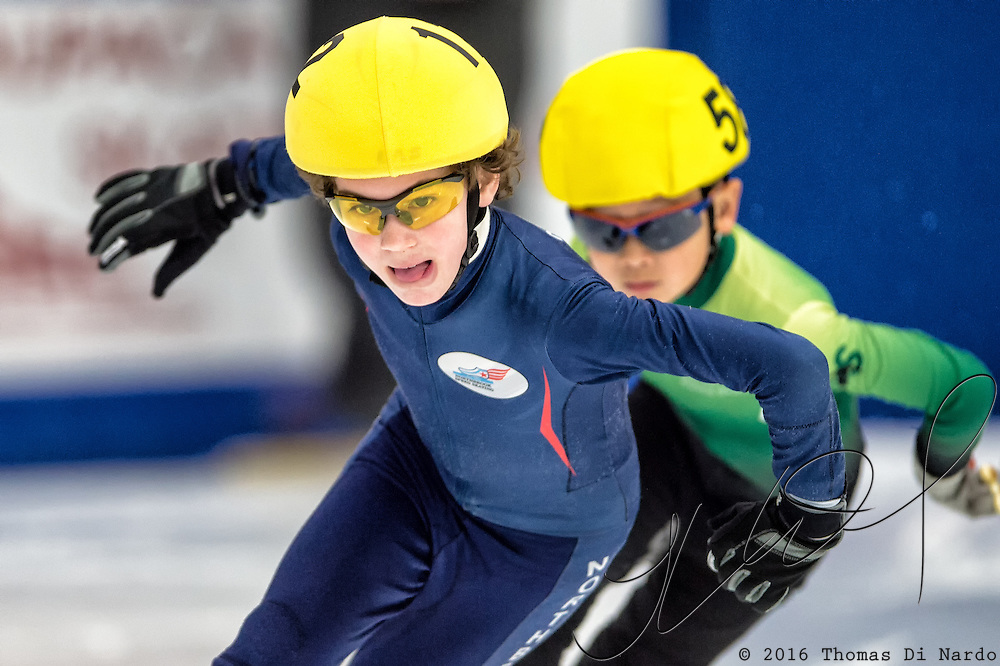 March 19, 2016 - Verona, WI - Marcello Gaus Ehning, skater number 12 competes in US Speedskating Short Track Age Group Nationals and AmCup Final held at the Verona Ice Arena.