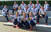 OLYMPIC VILLAGE. Stratford, East London, Great Britain,..Description: GB Rowings  Medalist. Back Row: left to Right. Rob WILLIAMS, Chris BARTLEY, Peter CHAMBERS, Richard CHAMBERS, Kat COPELAND;..Middle Row: Left to Right. Heather STANNING, Helen GLOVER, Tom JAMES, Alex GREGORY, Peter REED..Front Row, left to right,Katherine GRAINGER, Sophie HOSKING and Anna WATKINS..2012 GB Rowing Medal Winners. .. ..09:18:29  Saturday  11/08/2012 [Mandatory Credit: Peter Spurrier/Intersport Images]