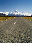 Low-angle view of Aoraki/Mt. Cook on Highway 80, New Zealand