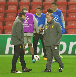 21.10.2014, Anfild, Liverpool, ESP, UEFA CL, FC Liverpool vs Real Madrid, Gruppe B, Training FC Liverpool, im Bild Liverpool's manager Brendan Rodgers // during training session of Liverpool FC ahead of the UEFA Champions League Group B match between Liverpool FC and Real Madrid CF at Anfild in Liverpool, Great Britain on 2014/10/21. EXPA Pictures © 2014, PhotoCredit: EXPA/ Propagandaphoto/ David Rawcliffe<br /> <br /> *****ATTENTION - OUT of ENG, GBR*****